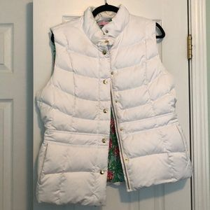 Lilly Pulitzer White Puffer Vest - XL